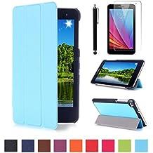 Huawei T1 7.0 Carcasa,Azul claro Ultra Slim Protección Funda de Cuero Piel Book Cover Smart Case para 7'' Huawei MediaPad T1 7.0 Tablet Funda Carcasa Caso con Soporte + Protectores de Pantalla + lápiz óptic