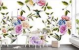 Yosot Tapete Von Hand Bemalt Classic 3D Hintergrundbild Mit Blumen Und Vögeln Einfach Wandbild Schöne Mode Hintergrund-350Cmx245Cm