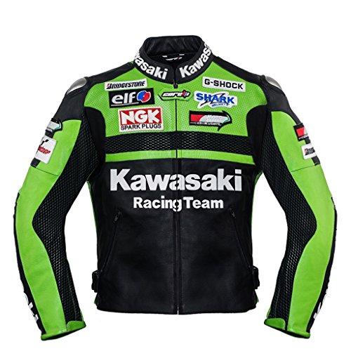 Corelli MG Professionelle Grün Racing Team Motorrad Lederjacke (ohne Buckel) (Sammlerstück) (M (EU50)) (Kawasaki-jacken)