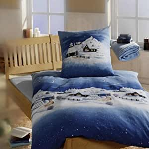 linon bettw sche weihnachtsbettw sche winterlandschaft in blau 155x220 80x80 k che. Black Bedroom Furniture Sets. Home Design Ideas