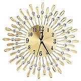 ALCYONEUS 3D Large Wall Clock Glänzend Strass Modern Living Zimmer Dekor (Golden)