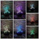 Cartoon Broom Magician 3D Lampada USB Multicolor Night Light LED Lampadina Giocattolo per bambini