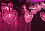 KEEDA 20LED Heart-Shape Solar Fairy String Lights, 4.8M Outdoor Garden Lights, Indoor Outdoor Christmas Decorative/Decoration Lighting/Lights, Solar Lights String (Purple)