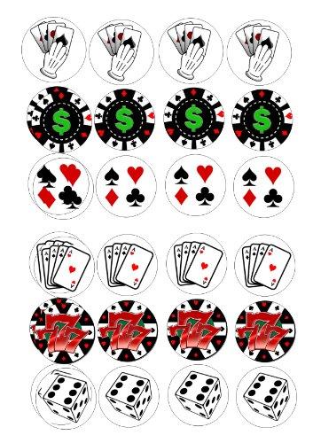 de poker 24 décorations pour gâteaux Thème glaçage sur 4 cm-Coeur love 2 ()
