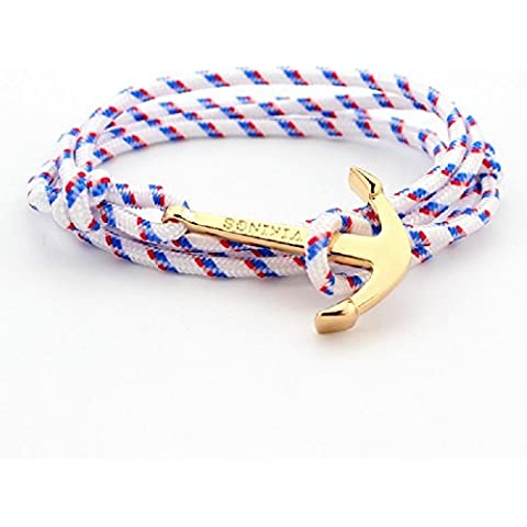 XJoel punky de la aleación de oro y plata del ancla del brazalete de múltiples capas de la pulsera de la cuerda de 2 pcs