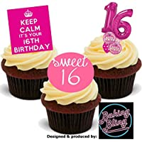 12 x 16th Birthday Pink Trio Mix 16 Sweet Sixteen Girly Girls Princess - Fun Novelty Birthday PREMIUM STAND UP Edible Wafer Card Cake Toppers Decoration