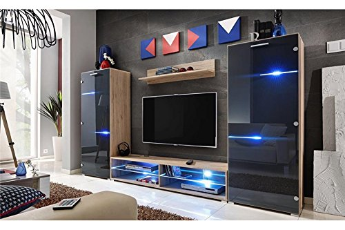 Meuble TV Mural Design Nodem - Bois et Noir