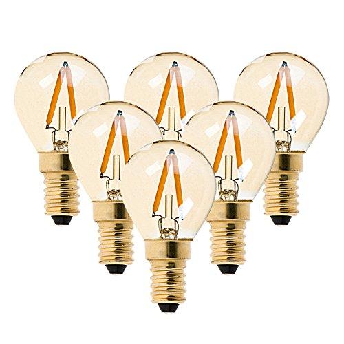 6er-Pack G40 Edison Vintage-1W LED-Glühlampe, 2200K Warmweiß,Mittel Schraube E14, getönter Glasbeschichtung,100 Lumen Ersetzt 10 Watt Glühlampen, CRI>90,No Dimmbar -