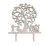 Décoration de Gâteau en Bois de Mariage Topper Couple Arbre Mariée - 8