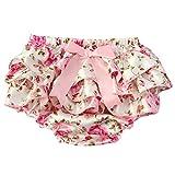 Culotte Bébé Fille Satin Floral PP Pantalon Rose Couvre-couches Dentelle pour 0-3 ans Prop Photographie Mignon Lace /Fleur Blanc L