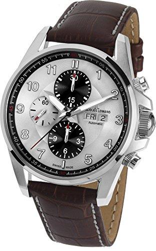 Jacques Lemans Herren Chronograph Automatik Smart Watch Armbanduhr mit Leder Armband 1-1750B
