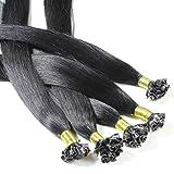 50 x 1g Bonding Extensions - 60cm, #1 schwarz, glatt - Keratin U-Tip Echthaar Extensions Haarverlängerung Nail Bondings
