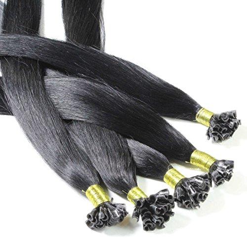 hair2heart 50 x 1g Echthaar Bonding Extensions, glatt - 40cm - #1 schwarz, Keratin Haarverlängerung Bondings