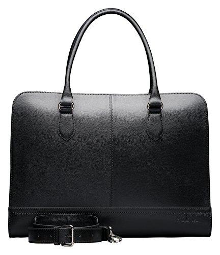 Su.B Damen Echtleder Laptop Handtasche: Elegante Designer Laptoptasche bis zu 15,6 Zoll – Umfunktionierbare Umhaengetasche mit Schultergurt – Business Aktentasche hergestellt in Italien S- Schwarz