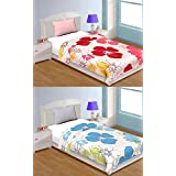 Handcraftd Single Bed Quilt/AC Blanket/Dohar With Pink Blue White Leaves Set Of 2 Combo Pack