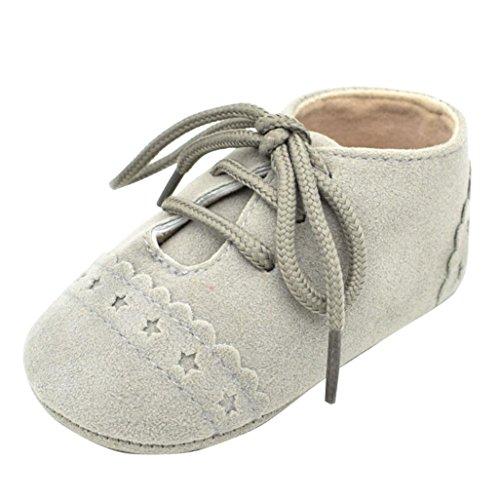 K-youth® Zapatos de Bebé, Primeros Pasos Para Niño Zapatillas de Bebé Antideslizante de Encaje Hasta Zapatos 0-18 Mes (6-12Mes, Gris)