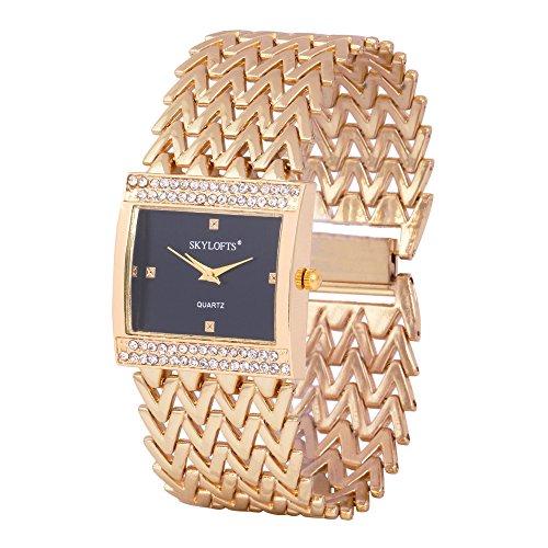 Skylofts 18K Gold Plated Metallic Strap Bracelet Women Watches - Girls Watches