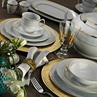 Kütahya Porselen Leonberg 83 Parça Yemek Takımı Model 9816, Altın Yaldızlı (Fileli), 12 Kişilik Yemek Seti