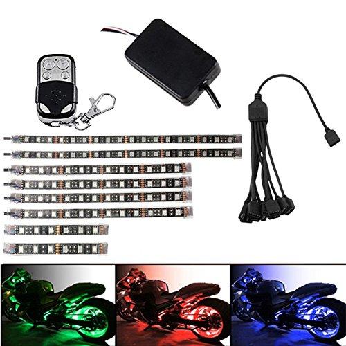 Preisvergleich Produktbild UxradG Auto LED Strip Lichter,  1 Drag 8 Auto LED-Innen Atmosphäre Deko Streifen Accent Glow Neon flexibel Leuchte Lampe Kit,  RGB mehrfarbig Lichtleiste RF Fernbedienung Controller