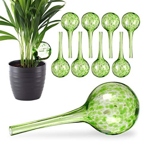 Relaxdays 10 x Bewässerungskugel im Set, dosierte Bewässerung Pflanzen u. Blumen, Gießhilfe Büro, Urlaub, Ø 6 cm, Glas, grün