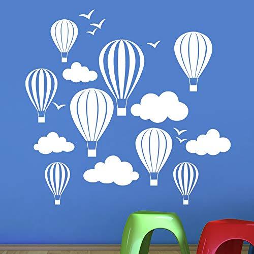 Enfants de ballons à air chaud avec nuages et oiseaux Sticker mural - Art Stickers en vinyle, pour chambre d'enfant, facile à appliquer, sans applicateur, facile - enlever (Veuillez Choisir votre taille et couleur grâce à la sélection Boîtes) - par Rubybloom Designs, blanc, Small 58cm x 55cm