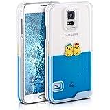 kwmobile Étui rigide coque pour Samsung Galaxy S5 / S5 Neo / S5 LTE+ / S5 Duos avec du liquide - coque rigide couvercle de batterie étui coque de protection eau avec Design canards en jaune bleu transparent
