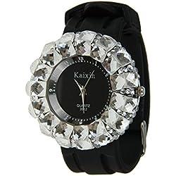 LY Unisex Lovers Crystal Rhinestone Quartz Wristwatch Silicone Strap Watch&Storage Tin (Black Dial)