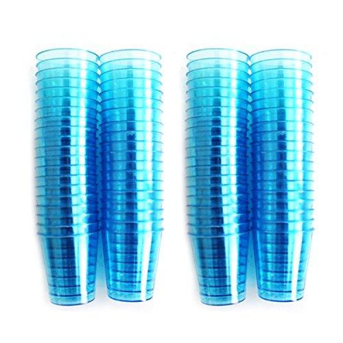 80 Verres bleu Transparent-Plastique de qualité alimentaire