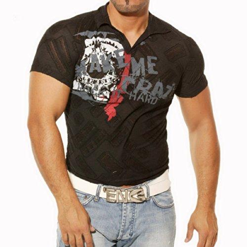 Poloshirt T-Shirt für Sommer Herren Männer Jungs Jungen Avroni A512RN Schwarz