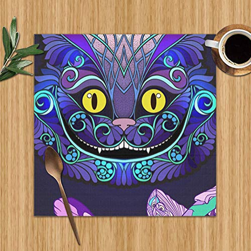Bag hat Cheshire Cat Head Fairy Tale Alice Table Placemats for Dining Table,Washable Table Mats Heat-Resistant(12X12 inch) Set of 6