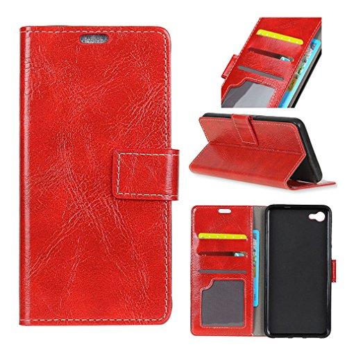 LMFULM® Hülle für Alcatel A50 PU Leder Magnetverschluss Brieftasche Lederhülle Retro Crazy Horse Muster Stent-Funktion Ledertasche Flip Cover für Alcatel A50 Rot