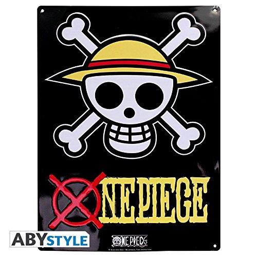 One Piece - 3D Blechschild - Luffy Ruffy Totenkopf Logo - 38 x 28 cm