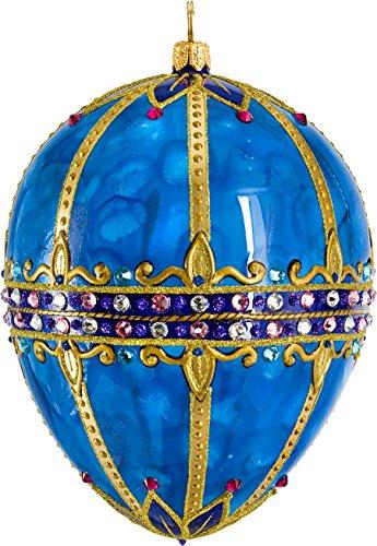 Joy Glitterazzi Sapphire Jeweled Egg Polish Glass Christmas Tree Ornament Poland -