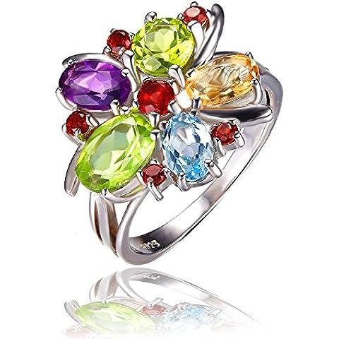 JewelryPalace Gioiello Donna Fiore Multicolore 3.1ct Ametista Naturale Granato Peridot Citrino Topazio Anello da Cocktail in 925 Argento Sterling Regalo di Giorno Del Ringraziamento Natale