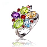 Jewelrypalace 2.46ct Bunt Blumen Damen Luxus Original Natürliche Amethyst Citrin Granat Orivin&Peridot Himmel Blau Topas Silbrring Ringe Massivem 925 Sterling Silber