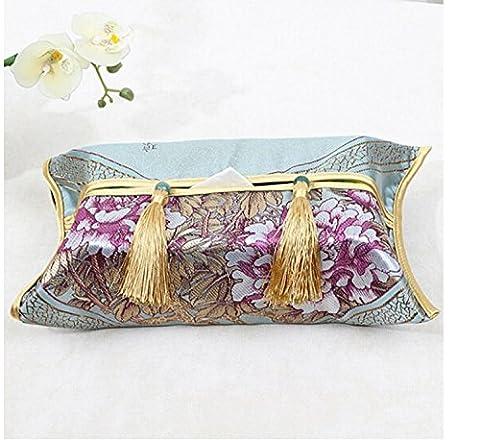 jlysheng Handmade Fabric-European tissue Box paper towel bag napkin box set napkins cardboard box dining room toilet towel box 38*22cm,Dark gray Five Dragon