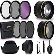 Professional 58mm Lens Accessories Kit/Bundle For Canon DSLR Cameras Includes 2 Lens Kit (Telephoto, Wide Angle) 58mm Filters (UV, ND CPL, FLD), 58mm Lens Hood, Lens Cap, Cleaning Tools + More
