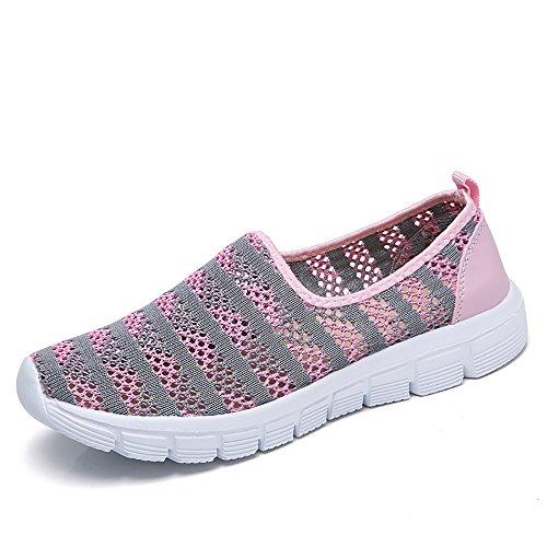 PAMRAY Sneakers Donna Sportive Scarpe da Ginnastica Walking Slip on Vuote Loafer Maglia Calzature da Corsa Atletiche Mocassini da Passeggio Leggere Estive Rosa 38
