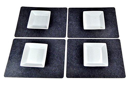 Tinas Collection Filz Platzset für 4 Personen, 4tlg.Tischset Platzmatten, Moderne Filz Tischmatten Tischunterlagen Accessoires Tisch