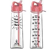 Drin'Kup 900ml – BPA-freie Wasserflasche mit Strohhalm - motivierende Zeitmarkierungen – dicht – umweltfreundliche Plastik-Trinkflasche/Sport-Trinkflasche für Fitness, Yoga, Outdoor und Camping (Pink)
