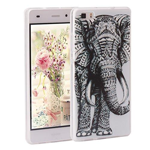 Ascend P8 Lite Case, per Huawei P8 Lite Cover Silicone, Asnlove Custodia Morbida Gel TPU Silicone Transparente Pellicola Flessible Ultra Sottile Custodie e Cover Bumper Back Shell Designo Retro Elefante