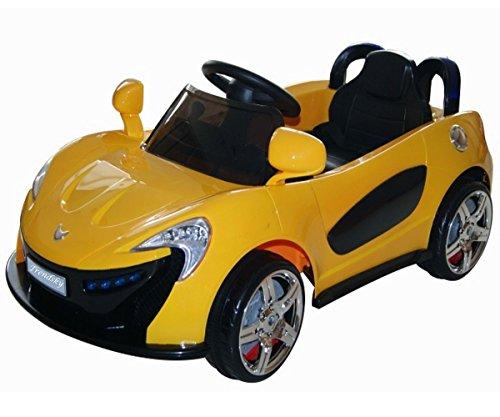 Trendsky Roadstar Cabrio Kinder MP3 LED Elektroauto Akku Fahrzeug Auto mit Power Motor (Gelb)