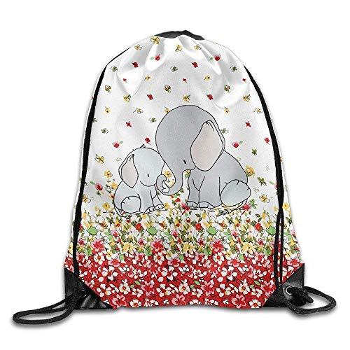 HIDFAA Bolso de Lazo Elephant Mama Drawstring Travel Sports Backpack