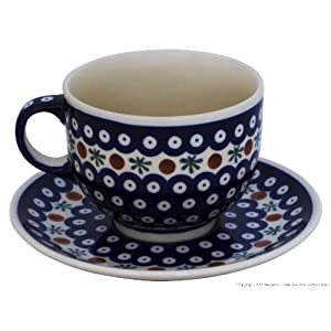 Bunzlauer Keramik Ceramic Pottery Cup and Saucer (Milchkaffeetasse) 0.5 Litres with 41