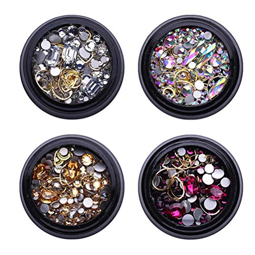 Frcolor 4 sets or clous gemmes scintillent strass métal rivets charmes creux lune en forme de coeur bricolage 3d nail art décoration