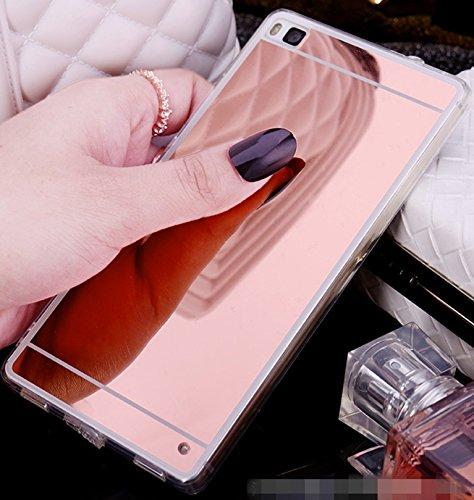 Fundas Huawei P8 Lite, LXHGrowH [Ultra Delgada] Carcasa con espejo para Huawei P8 Lite (2015) Cover silicona tpu protectora Color Rosado - LXHGrowH Cubierta