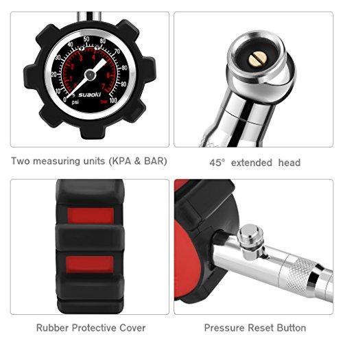 Suaoki-Manometro-Pressione-Pneumatici-0-100-PSI-68-BAR-con-Quadrante-Precisione-2-PSI-Adatto-per-Camion-Pneumatici-Auto-e-Moto