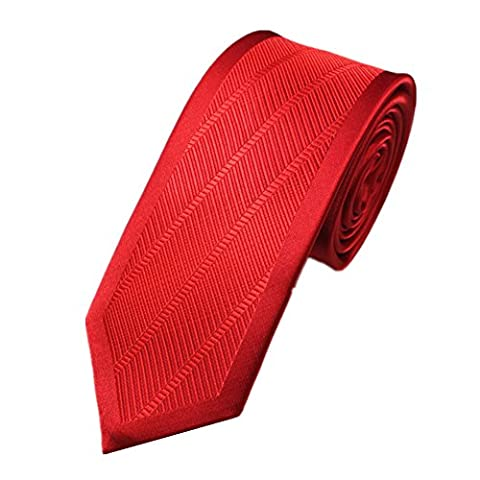 Z-P Mens Red Thin Pttern Luxury Microfiber Necktie Knit Polyester Skinny Tie