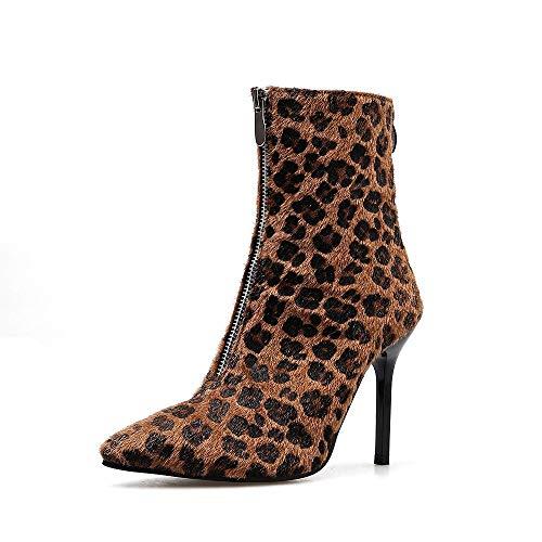 NDGDA Damen Stiefeletten mit Leopardenabsatz, sexy Pumps Zehenspitze, hohe Absatz -