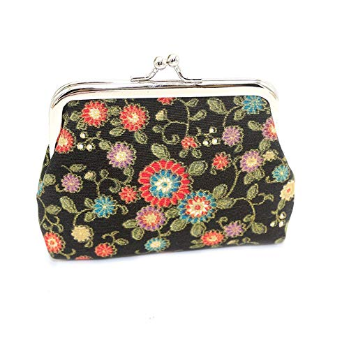 Carry stone Premium Qualität Münze Geldbörse Brieftasche Notecase für Mädchen, Sunflower Print Frauen Cash Change Geldbörse Kiss Lock Mode Mini Wallet Card Bag - Schwarz -
